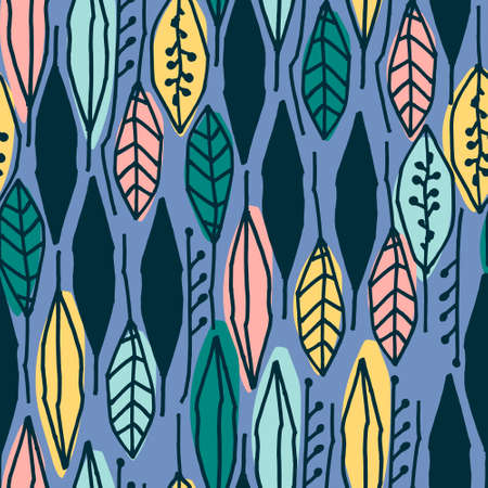 Seamless pattern with colorful tropical leaves on blue background for surface design and other design projects