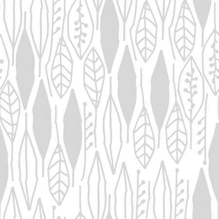 Seamless black and white pattern with tropical leaves on white background for surface design and other design projects
