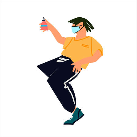 Young man in mask dancing with spray sanitizer. Hand and respiratoty hygiene concept. Antiseptic alcohol rub ad. Covid-19 awareness concept. Vector illustration in flat style Ilustração