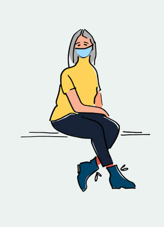 Young woman in mask sitting on a bench hand drawn vector illustration. Respiratory hygiene during coronavirus pandemic concept. Covid-19 awareness concept