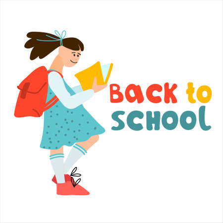Back to School banner. Schoolgirl with book and college bag  illustration in flat style design and hand lettering Imagens - 153255399