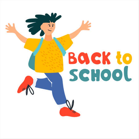 Back to School banner. Happy schoolboy  illustration in flat style design and hand lettering Imagens - 153255408