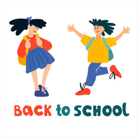 Welcome Back to School banner. Happy schoolchildren   illustration in flat style design and hand lettering