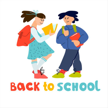Welcome Back to School banner. Schoolchildren  illustration in flat style design and hand lettering Illustration