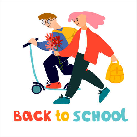 Welcome Back to School banner. Happy schoolchildren with scooter and flowers  illustration in flat style design and hand lettering