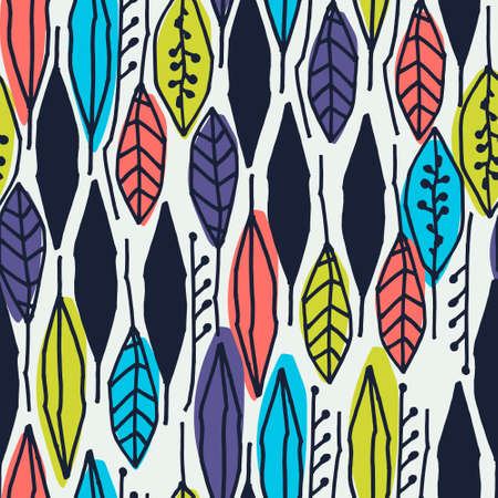 Seamless pattern with colorful tropical leaves on white background for surface design and other design projects