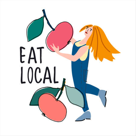 Eat local concept. Woman picking apples  illustration in abstract flat style. Hand lettering. Harvesting, pick-your-own concept. Fresh fruit concept Ilustração
