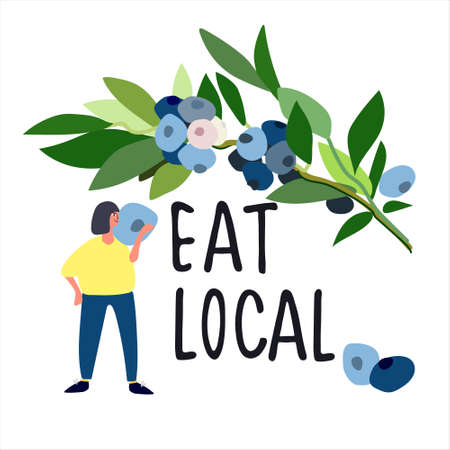 Eat Local concept. Harvesting concept. Pick-your-own concept. Woman picking blueberries  illustration in abstract flat style Ilustração