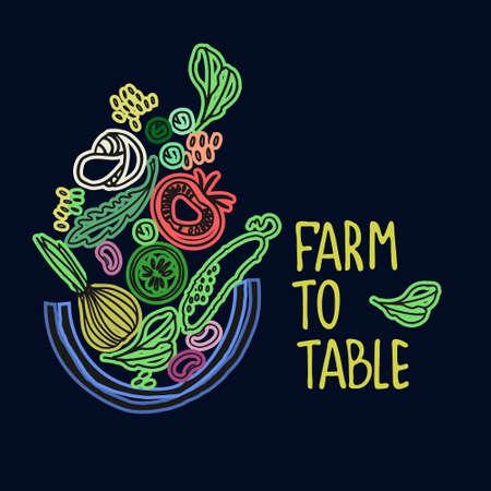 Healthy farm food concept. Fresh fruit and vegetables concept. Veganism concept. Hand-lettered slogan and basket of healthy carb food vector illustration Ilustração
