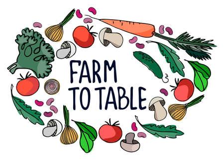 Healthy farm food concept. Fresh vegetables concept. Veganism concept. Frame of vegetables, mushrooms hand drawn vector illustrations with hand lettering inside Ilustração