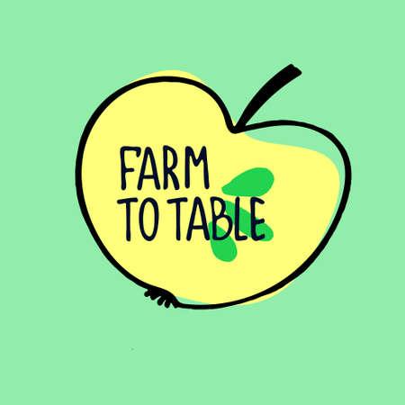 Healthy farm food concept. Fresh fruit concept. Veganism concept. Hand drawn vector illustration of an apple with hand letering inside Ilustração