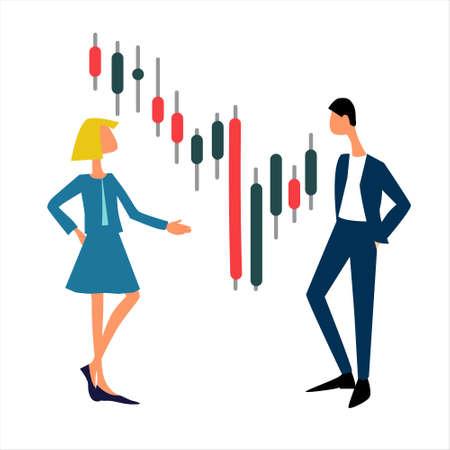 Online trading platform, brokerage, investment concept. Flat design. Isolated on white background Vecteurs