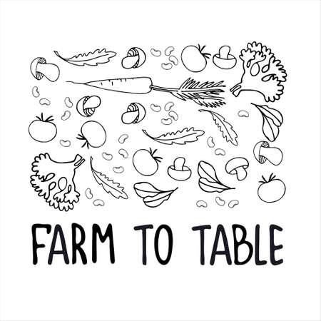 Healthy farm food concept. Fresh vegetables concept. Veganism concept. Vegetables, mushrooms hand drawn black and white vector illustrations Ilustração