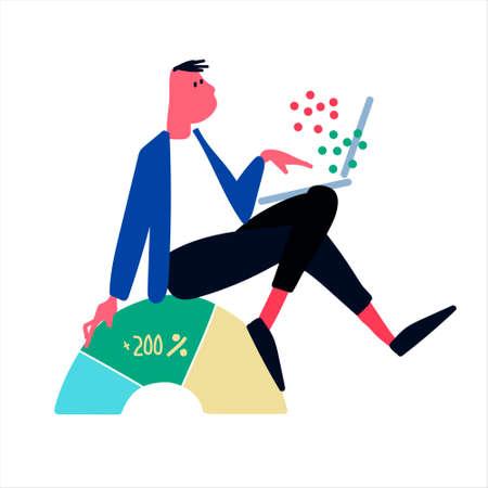 Making money on financial markets concept. Online trading platform advertisement. Isolated vector illustration, flat design Ilustração