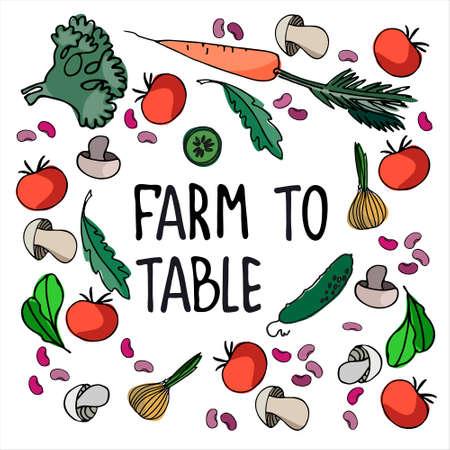 Healthy farm food concept. Fresh vegetables concept. Veganism concept. Vegetables, mushrooms hand drawn vector illustrations