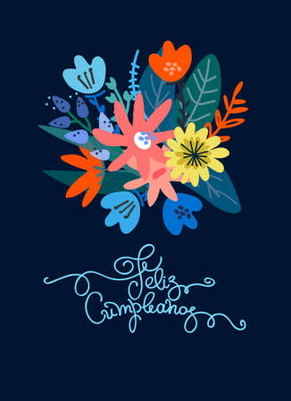 Birthday greeting card design. Text in Spanish says happy birthday. Lush floral bouquet and hand lettering. Isolated on dark blue