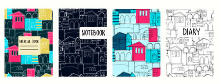Set of cover page vector templates based on seamless patterns with cityscapes, historic buildings, archways. Perfect for exercise books, notebooks, diaries, presentations