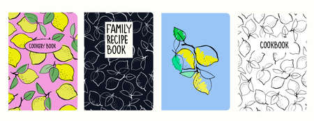Cover page templates for recipe books based on seamless patterns with hand drawn lemons. Cookery books cover layout. Healthy fruit, vegan food concept
