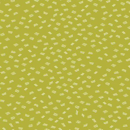 Seamless repeating pattern with hand drawn triple dashes. Ochre colored vector background for surface design and other design projects