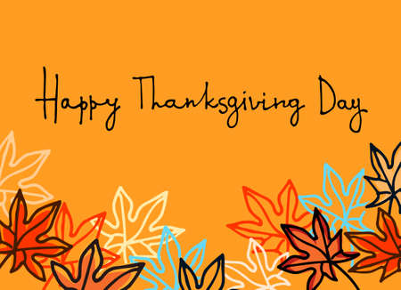 Happy Thanksgiving greeting card. Hand lettering and decoration with maple leaves on orange background