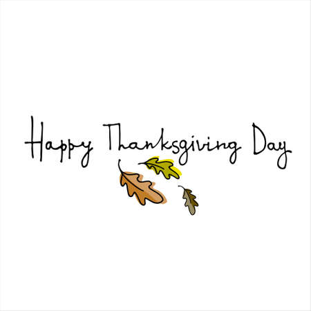 Thanksgiving Day vector logo. Hand lettering decorated with hand drawn oak leaves. Isolated on white background