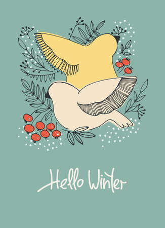 Hello Winter seasonal background. Hand drawn vector illustration with birds pecking berries. Hand lettering