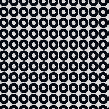 Seamless geometric pattern with hand drawn uneven black rings on gray background for surface design and other design projects
