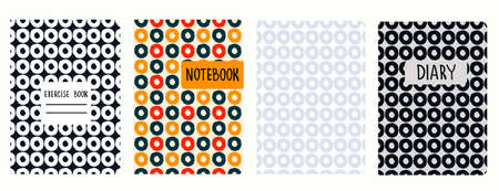 Set of cover page templates based on seamless patterns with hand drawn rings. Perfect for exercise books, notebooks, diaries, presentations