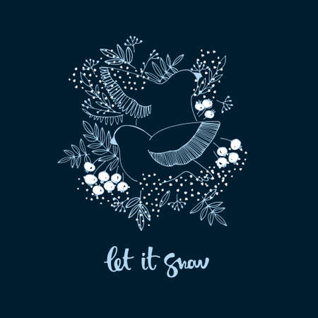 Winter seasonal illustration with birds, berries, snow and Let It Snow hand lettering. Winter holidays banner, greeting card template