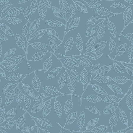 Seamless pattern with elm tree branches and leaves on blue background for surface design and other design projects. Monochrome realistic line art
