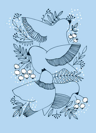 Decor printable art. Hand drawn vector illustration with birds, berries and snow on blue background. Winter concept. Design for prints, posters, cards, textile