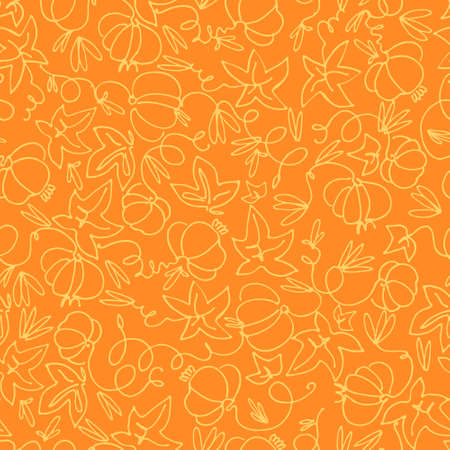 Seamless pattern with pumpkins on orange background. Hand drawn vector illustration. Thanksgiving Day concept, autumn concept, healthy vegetables concept