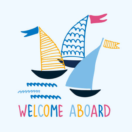 Welcome aboard. Boat trips logo. Boat sightseeing tours, sea or river cruise routes banner. Yacht hand drawn vector illustrations with hand lettering