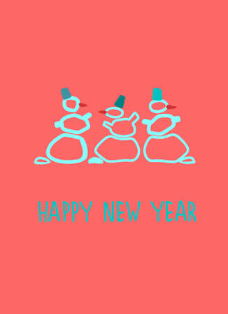 New Year greeting card design template. Hand drawn funny snowmen, Happy New Year hand lettering on pink background