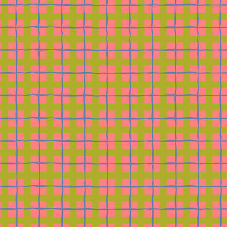 Seamless checkered repeating pattern with multicolored squares and hand drawn grid. Colorful plaid background for wrapping paper, surface design and other design projects
