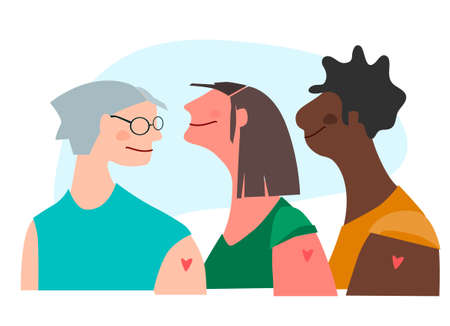 Vaccination time concept. Happy women of different age and color after vaccine injection in shoulder. Vector illustration with place for text. Campaign banner, poster, flyer, social media post