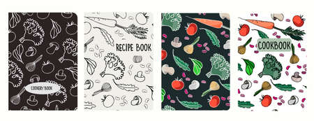 Cover page vector templates for recipe books based on seamless patterns with hand drawn vegetables, mushrooms. Cookery books cover layout. Healthy food, vegan food concept Ilustracje wektorowe