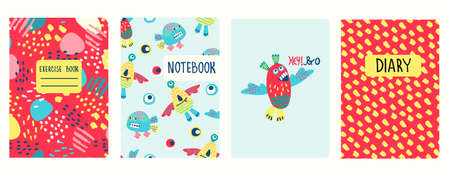 Cover page templates based on patterns with hand drawn funny monsters, fantasy shapes and Hey Bro lettering. Background for school notebooks, kids diaries, albums