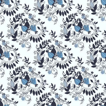 Damask seamless pattern with branches, leaves and fantasy fruit on beige background for surface design and other design projects Ilustração