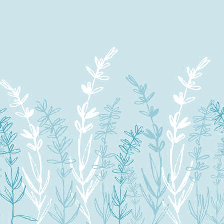 Seamless monochrome border pattern with hand drawn lavender for textile, clothing, background design. White on blue