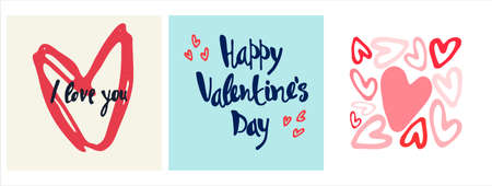 Set of Happy Valentines Day greeting cards designs with hand drawn hearts and lettering