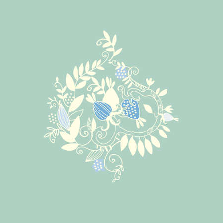 Decor printable art in Damask style. Hand drawn floral vector illustration with branches, leaves, fantasy fruits on turquoise background. Design for prints, posters, textile