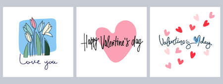 Set of Happy Valentines Day greeting cards designs with hand drawn hearts, flowers and lettering Ilustração
