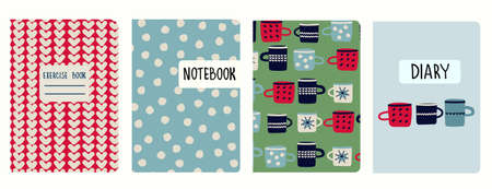 Set of cover page vector templates with hand drawn cups, hearts, polka dot pattern. Based on seamless patterns. Headers replaceable. Rustic hygge style. Perfect for school notebooks, notepads, diaries