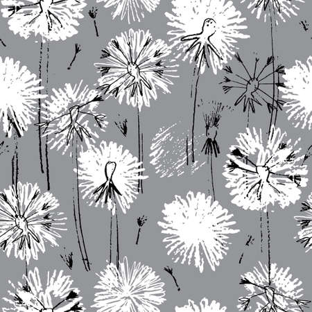Seamless pattern with hand drawn dandelion flowers for surface design and other design projects. Monochrome line art, gray background