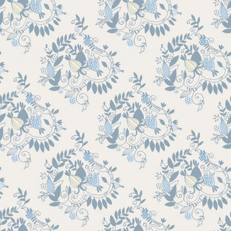 Damask seamless pattern with branches, leaves and fantasy fruit on blue background for surface design and other design projects