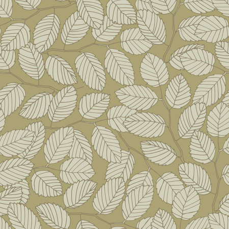 Seamless pattern with elm tree branches and leaves on dark beige background for surface design and other design projects. Realistic line art