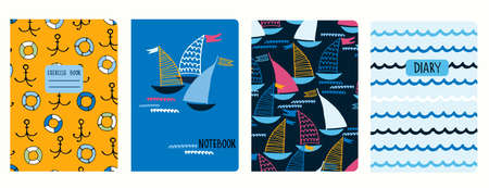 Set of cover page vector templates with sailing boats, anchors, lifesavers, waves. Based on seamless patterns. Headers isolated and replaceable. Perfect for school notebooks, diaries