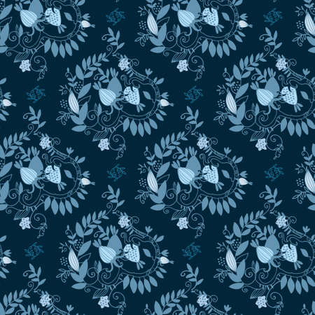 Damask seamless pattern with branches, leaves and fantasy fruit on dark blue background for surface design and other design projects