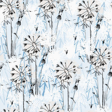 Seamless pattern with hand drawn dandelion flowers for surface design and other design projects. Line art, light blue background